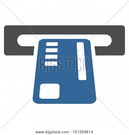 Ticket Machine icon. Glyph style is bicolor flat iconic symbol with rounded angles, cobalt and gray colors, white background.