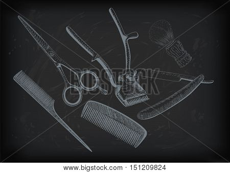 Scissors clippers shears brush swab razor hairclipper blade shingle barber vintage retro barbershop. Vector vertical closeup top view beautiful old school barber's salon background sign signboard