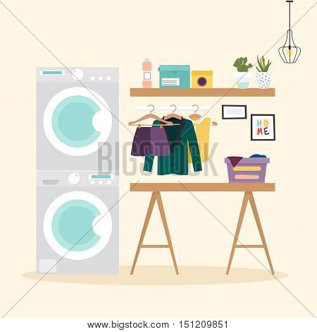 Laundry Room With Facilities For Washing. Wash Machine, Flasket, Washing Powder, Clothes Flat Design