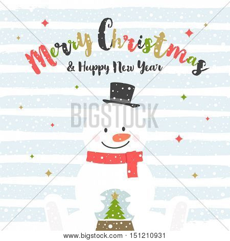 Cute cartoon snowman with snow globe. Christmas greeting card. Vector illustration.