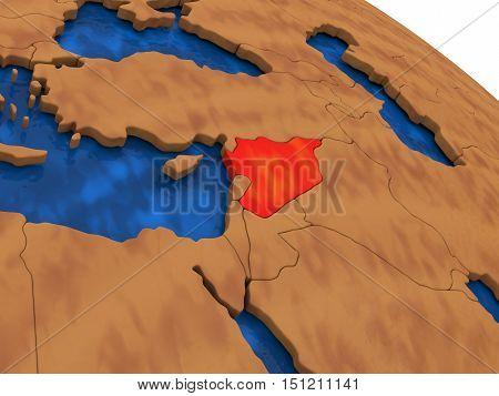 Syria On Wooden Globe