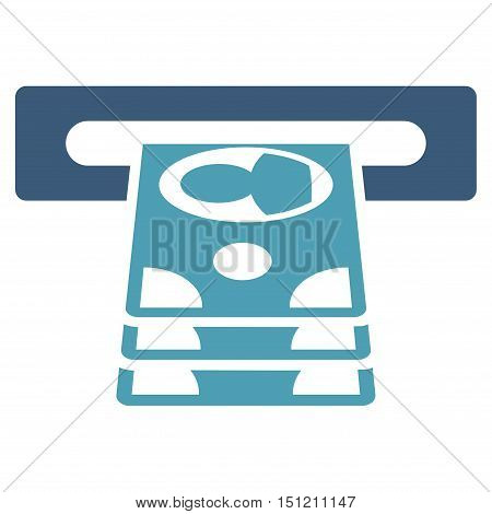Cashpoint icon. Glyph style is bicolor flat iconic symbol with rounded angles, cyan and blue colors, white background.