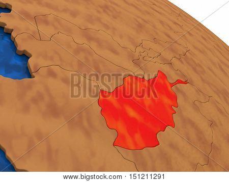 Afghanistan On Wooden Globe