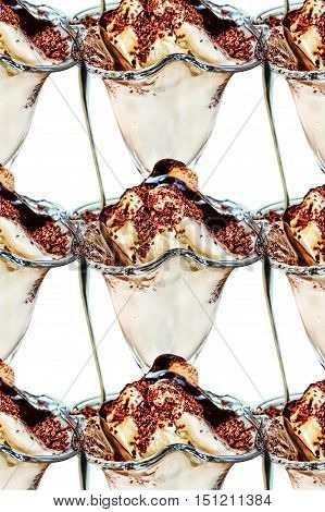 Collage of appetizing ice cream topped with chocolate syrup on white background taken closeup.