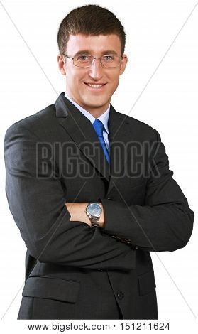 Happy Businessman Standing with Arms Folded and Glasses - Isolated