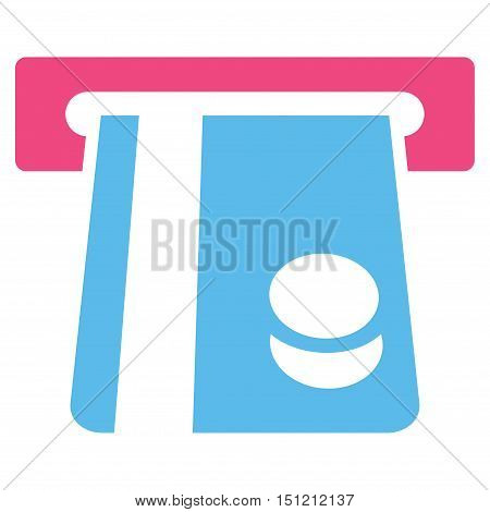 Bank Card Terminal icon. Glyph style is bicolor flat iconic symbol with rounded angles, pink and blue colors, white background.