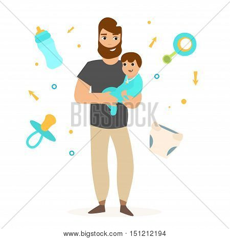 Father with Little Baby. Dad Carrying His Boy. Flat Design Style. Vector illustration