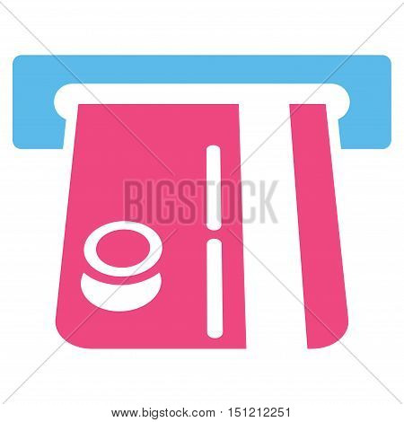 Bank Terminal icon. Glyph style is bicolor flat iconic symbol with rounded angles, pink and blue colors, white background.