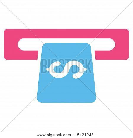 Banking Machine icon. Glyph style is bicolor flat iconic symbol with rounded angles, pink and blue colors, white background.