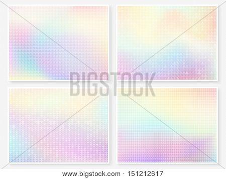 Hologram Wallpaper Set Pastel Multicolor Blurs Triangles