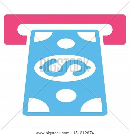 Cash Withdraw icon. Glyph style is bicolor flat iconic symbol with rounded angles pink and blue colors white background.