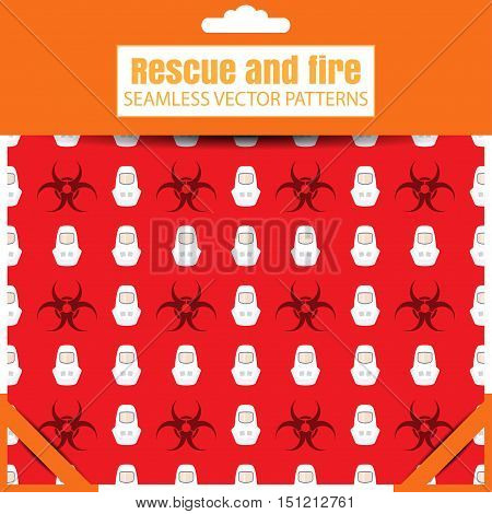 Seamless vector patterns with biohazard sign protective suit on the red background in the package with shadow.