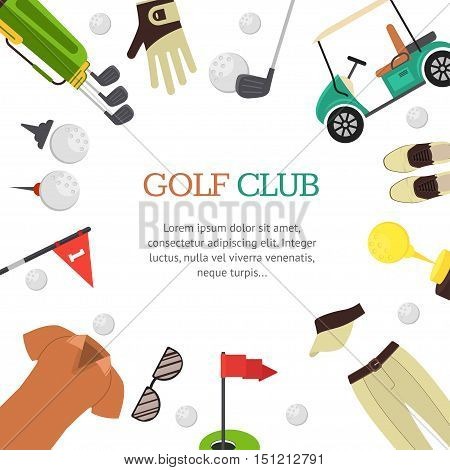 Golf Club Banner Card for Your Business Flat Design Style. Vector illustration