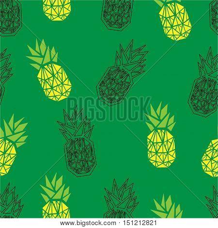Green geometric pineapple seamless vector pattern. Pineapple green seamless background.