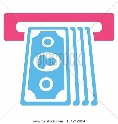 Cashpoint Terminal icon. Glyph style is bicolor flat iconic symbol with rounded angles pink and blue colors white background.