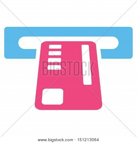 Ticket Machine icon. Glyph style is bicolor flat iconic symbol with rounded angles pink and blue colors white background.