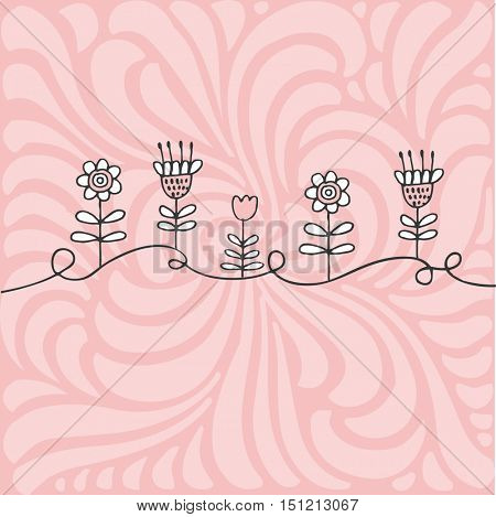 Hand drawn flowers on pink background. For invitation, greeting card, baby shower, valentine, mothers day. Graphic design element.