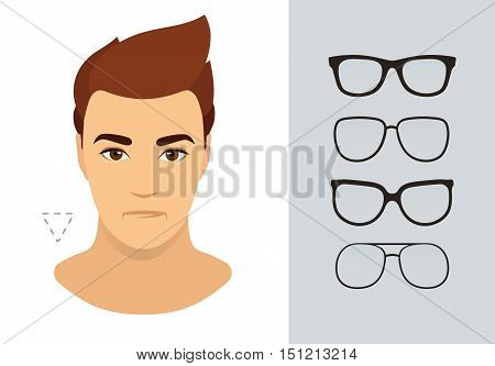 Man sunglasses shapes for triangle man face type. Various forms of summer glasses for heart face. Fashion collection. Vector icon set.