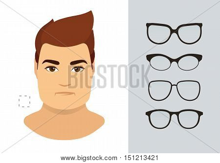 Man sunglasses shapes for square man face type. Various forms of summer glasses for square face. Fashion collection. Vector icon set.