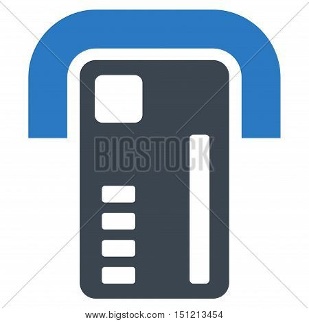 ATM Machine icon. Glyph style is bicolor flat iconic symbol with rounded angles smooth blue colors white background.
