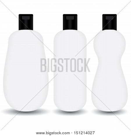 White plastic Shampoo, lotion bottle cosmetic package on white background.