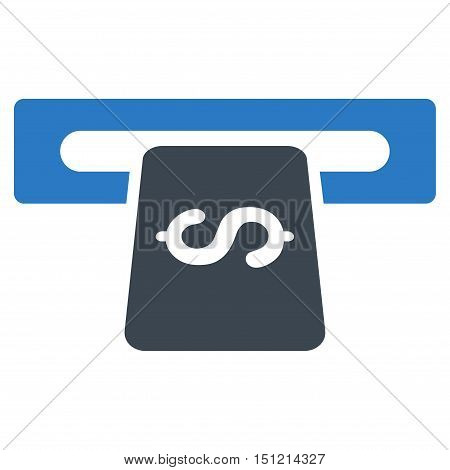 Banking Machine icon. Glyph style is bicolor flat iconic symbol with rounded angles smooth blue colors white background.