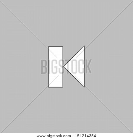 Back Track button Simple line vector button. Thin line illustration icon. White outline symbol on grey background