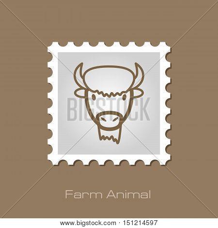 Bison bull buffalo ox outline stamp. Animal horned head vector symbol eps 10