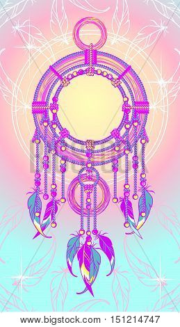 Magical mystical amulet Indian Dreamcatcher defender sleeper from evil spirits and bad dreams with feathers beads and ornaments in psychedelic pastel colors