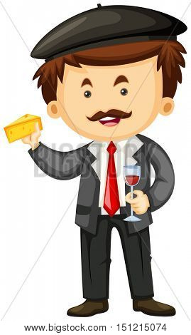Man holding cheese and glass of wine illustration