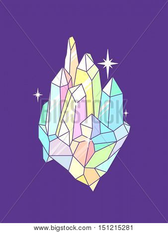 Colorful Illustration of a Group of Geometrical Crystals Sparkling Against a Purple Background