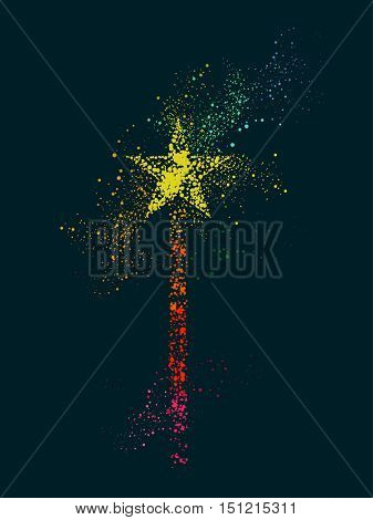 Pointilism Illustration Featuring a Magic Wand with a Star on Top Drawn with Hundreds of Colorful Dots
