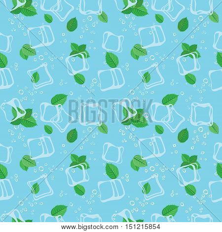 Mojito mint bubbles and ice cubes blue seamless vector pattern background.