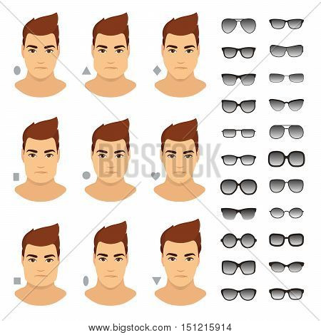 Sunglasses shapes for man. Types of sunglasses for different man face - square triangle circle oval diamond long heart rectangle. Vector icon set. All sunglasses with transparent glass.