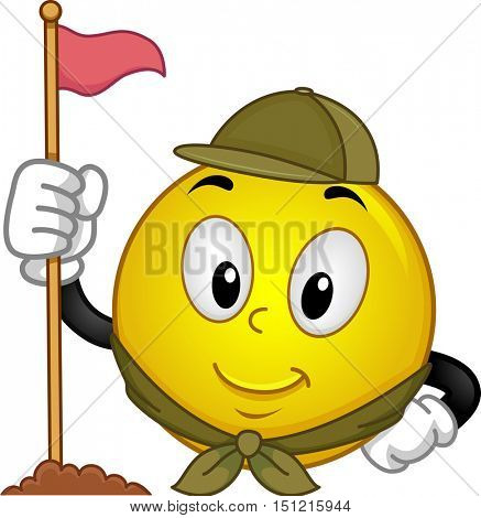 Mascot Illustration of a Happy Smiley in Scouting Uniform Erecting a Flag Pole