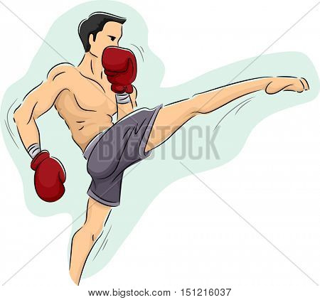 Illustration of a Muscular Man in Shorts and Boxing Gloves Performing a Muay Thai Kick