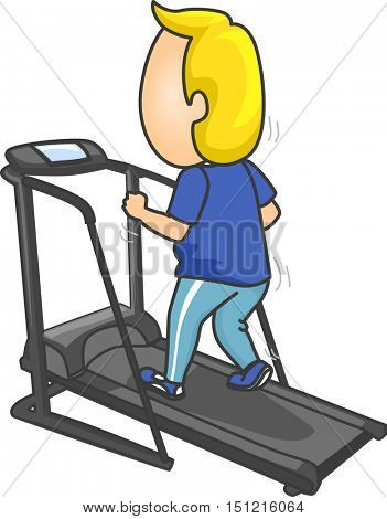 Fitness Illustration of a Man in Training Clothes Running on a Treadmill