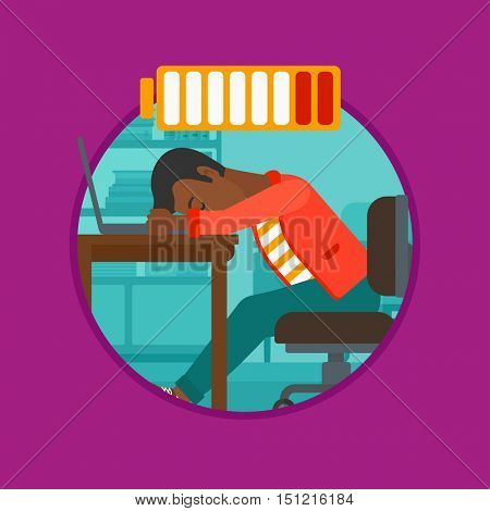 An african-american man sleeping at workplace on laptop keyboard and low power battery sign over his head. Man sleeping in office. Vector flat design illustration in the circle isolated on background.
