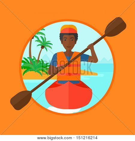 African-american sportsman riding in a kayak in the sea. Young man traveling by kayak. Male kayaker paddling. Man paddling a canoe. Vector flat design illustration in the circle isolated on background