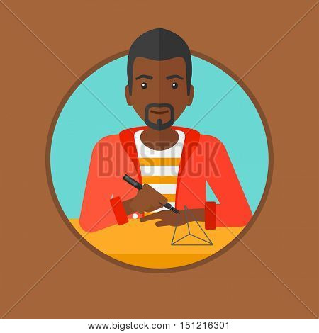 An african-american young man making a model with a 3D pen. Man drawing geometric shape by 3d pen. Man working with a 3d-pen. Vector flat design illustration in the circle isolated on background.
