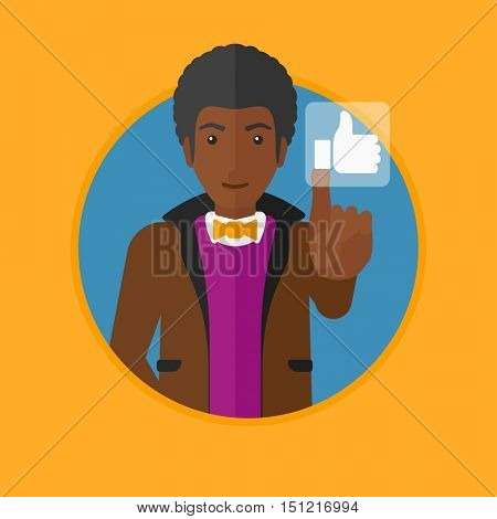 An african-american man pressing like button. Man pressing modern social button with thumb up. Man pressing social network button. Vector flat design illustration in the circle isolated on background.