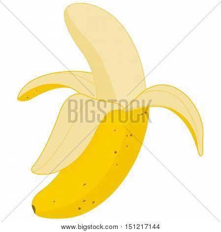 Vector illustration of a half peeled yellow ripe banana