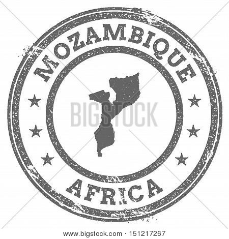 Mozambique Grunge Rubber Stamp Map And Text. Round Textured Country Stamp With Map Outline. Vector I