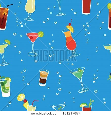 Cocktail party blue seamless vector pattern. Soda pop vector background.
