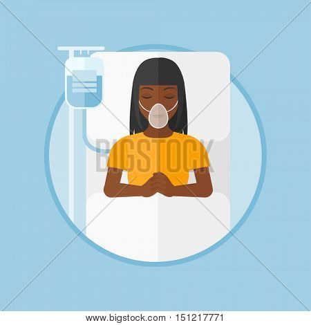 An african-american woman lying in hospital bed with oxygen mask. Woman during medical procedure with drop counter at medical room. Vector flat design illustration in the circle isolated on background