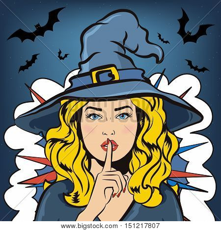 Shh witch. Halloween vector illustration with witch and bats. Woman in witch costume asking for silence with the finger on her lips.