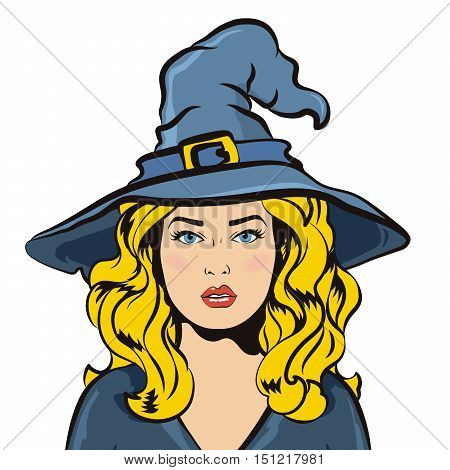 Vector illustration of halloween sexy witch with old hat. Design element for Halloween isolated on white background.