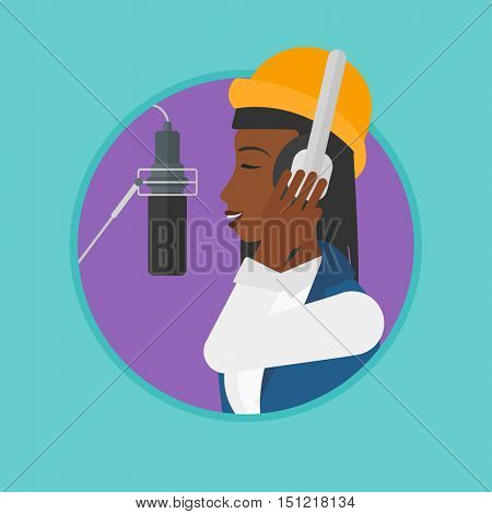 An african woman in headphones singing in recording studio. Singer making a record of her voice. Young singer recording a song. Vector flat design illustration in the circle isolated on background.