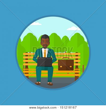 An african-american businessman working in the park. Man working on a laptop. Businessman sitting on a bench with laptop. Vector flat design illustration in the circle isolated on background.