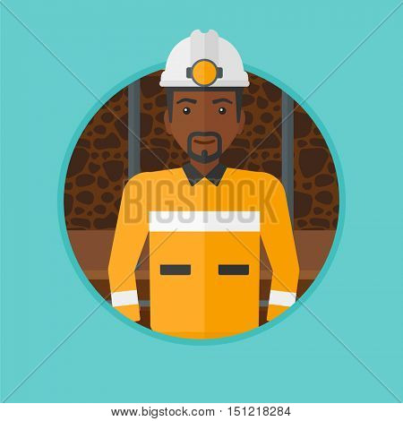 An african-american confident coal miner. Miner in hardhat with torch. Miner standing in the coal mine. Vector flat design illustration in the circle isolated on background.